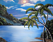 Night Glow Painting Originals - Island Night Glow by Luis F Rodriguez