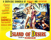 1950s Movies Prints - Island Of Desire, From Left Tab Hunter Print by Everett