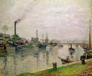 Boats At The Dock Posters - Island of the Cross at Rouen Poster by Camille Pissarro