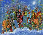 Mayans Prints - Island people on the night surf Print by Jorge Gaete