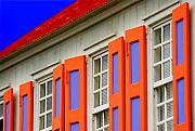 Blue And Orange Prints - Island Shutters Print by Michael Petrizzo