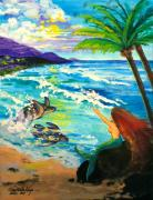 Sea Turtles Painting Prints - Island Sisters Print by Karon Melillo DeVega