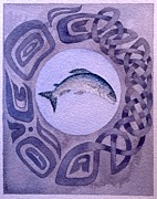 Salmon Painting Posters - Island Spirit Poster by Sandy Eastoak