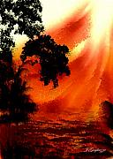 Lanscape Digital Art - Island Sun by Jean Gugliuzza