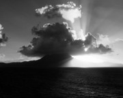 Cloud And Ocean Art Posters - Island Sunrise 2  Poster by Perry Webster