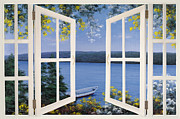 French Door Paintings - Island Time Window by Diane Romanello