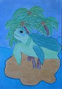 Green Sea Turtle Pastels - Island Turtle by Laura Jordan