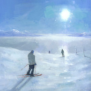 Ski Painting Originals - Islands in the Cloud by Steve Mitchell