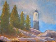 Maine Seacoast Paintings - Isle au Haut Light by John Lindbeck