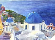 Mediterranean Drawings Framed Prints - Isle of Santorini Thiara  in Greece Framed Print by Carol Wisniewski