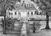 Plantation Paintings - Islenos Museum in Black and White by Elaine Hodges