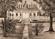 Southern Plantation Paintings - Islenos Museum in Sepia by Elaine Hodges