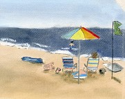 Umbrella Pastels Prints - Islip Beach Print by Barbara Gulotta