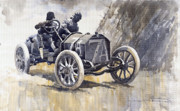 Retro Paintings - Isotta Fraschini 50HP 1908 Targa Florio  by Yuriy  Shevchuk