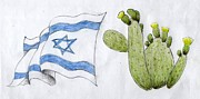 Independence Drawings Prints - Israel Print by Annemeet Van der Leij