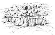 Israel Drawings - Israel Dead Sea Scroll Mountains by Robert Birkenes