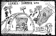 Thedailydose.com Drawings Originals - Israel Summer 2011 Tent Protest by Yasha Harari