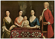 Fine American Art Prints - Issac Royall and His Family Print by Robert Feke