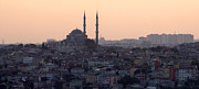 Mosque Prints - Istanbul Cityscape At Sunset Print by Terje Langeland