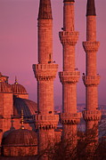 Pink Dawn Posters - Istanbul, Turkey, Blue Mosque Poster by Grant Faint