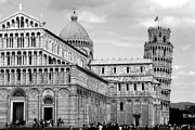 Pisa Posters - IT0021 Leaning Tower of Pisa Black and White Poster by Steve Sturgill