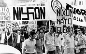 Anti-war Framed Prints - Italian Anti-nixon Demonstrators March Framed Print by Everett