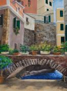 Balcony Painting Framed Prints - Italian Arched Bridge With Flower Pots Framed Print by Charlotte Blanchard