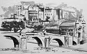 Bridge Drawings Framed Prints - Italian Bridge Framed Print by John Keaton