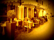 Italian Cafe Prints - Italian Cafe in Golden Sepia Print by Carol Groenen