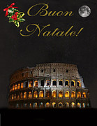 Greetings Cards Mixed Media Framed Prints - Italian Christmas card Rome Framed Print by Eric Kempson