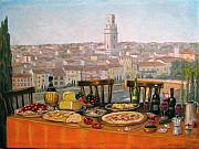 Staircase Painting Originals - Italian cityscape-Verona Feast by Italian Art