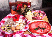 Italian Greeting Card Posters - Italian Dinner Greeting Card Poster by John Rizzuto