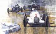 Retro Paintings - Italian GP 1934 MB W25 Alfa Romeo P3 Maserati 6C by Yuriy  Shevchuk
