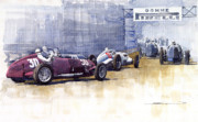 Watercolour Prints - Italian GP1937 Livorno  Print by Yuriy  Shevchuk