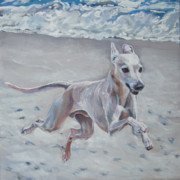Greyhound Prints - Italian Greyhound on the Beach Print by Lee Ann Shepard