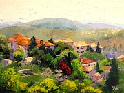 Hill Top Village Prints - Italian Hillside Village Oil Painting Print by Chris Hobel