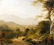 Figures Painting Posters - Italian Landscape Poster by Joseph William Allen