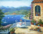 Blue Sea Paintings - Italian Lunch On The Terrace by Marilyn Dunlap