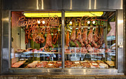 Meats Prints - Italian Market Butcher Shop Print by John Greim