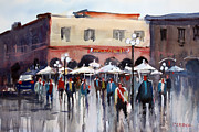 Streetscape Painting Originals - Italian Marketplace by Ryan Radke