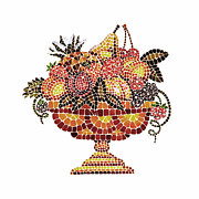 Italian Kitchen Painting Metal Prints - Italian Mosaic Vase With Fruits Metal Print by Irina Sztukowski