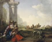 Donkey Painting Posters - Italian Peasants among Ruins Poster by Jan Weenix
