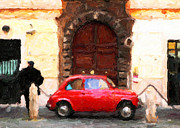 Italian Greeting Card Posters - Italian Red Car Greeting Card Poster by John Rizzuto