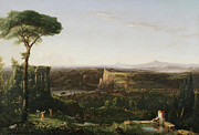 Italian Landscapes Posters - Italian Scene Composition Poster by Thomas Cole