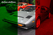 Italian Cars Framed Prints - Italian Stallions . 1984 Ferrari 308 GTS QV Framed Print by Wingsdomain Art and Photography
