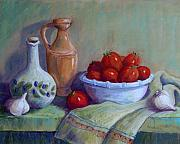Tomatoes Pastels Prints - Italian Still Life Print by Candy Mayer