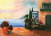 Buildings By The Ocean Originals - Italian Sunset Villa by the Sea by Sharon Mick
