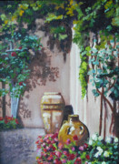 Winery Paintings - Italian Urns at Viansa by Debbie Waitkus
