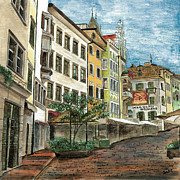Street Scene Framed Prints - Italian Village 1 Framed Print by Debbie DeWitt