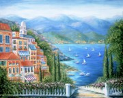 Sail Boats Painting Posters - Italian Village By The Sea Poster by Marilyn Dunlap